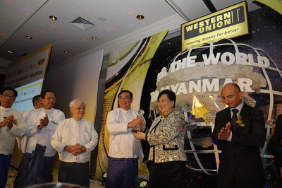 Dr. Maung Maung Thein, Deputy Minister, Finance and Revenue of Myanmar officiates at the launch with Drina Yue, Western Union's Managing Director and Senior Vice President, Asia Pacific.   (PRNewsFoto/Western Union)