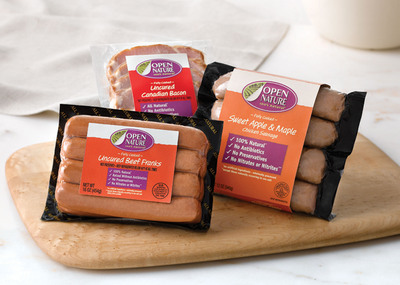 Open Nature 100% Natural Sweet Apple & Maple Chicken Sausage, Uncured Beef Franks and Uncured Canadian Bacon.  (PRNewsFoto/Safeway Inc.)