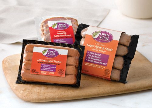 Open Nature 100% Natural Sweet Apple & Maple Chicken Sausage, Uncured Beef Franks and Uncured Canadian Bacon.  ...