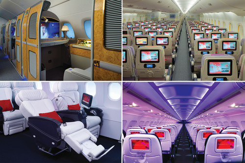 Clockwise: Emirates First Class, Emirates Economy Cabin, Virgin America Main Cabin, Virgin America First Class.  ...