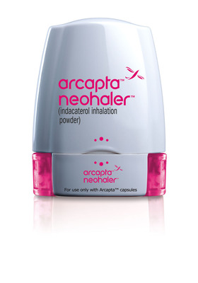 East Hanover, NJ, [March 19, 2012] - Novartis launches Arcapta(TM) Neohaler(TM), a novel once-daily bronchodilator for chronic obstructive pulmonary disease.  (PRNewsFoto/Novartis Pharmaceuticals Corporation)