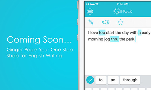 Ginger announces Ginger Page, the world's first comprehensive online tool for writing in English. ...