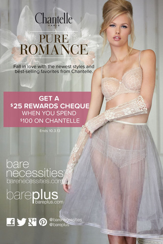 Get Paid to Shop at Bare Necessities! Get a $25 Rewards Cheque When You Spend $100 on World Famous Lingerie Brand, Chantelle. (PRNewsFoto/Bare Necessities)
