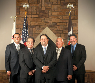 The Santa Ynez Band of Chumash Indians Tribal Chairman (center) and members of the Business Committee.  L to R:  Kenneth Kahn, David Dominguez, Tribal Chairman Vincent Armenta, Richard Gomez and Gary Pace.  (PRNewsFoto/Santa Ynez Band of Chumash Indians)
