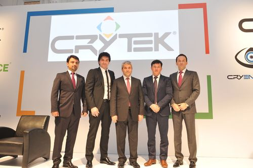 Crytek Continues to Expand with the Arrival of Crytek Istanbul; from left to right: Serhat Bekdemir - General Manager, Cevat Yerli - Founder, CEO & President of Crytek, Nihat Ergün - Minister of Science, Industry & Technology of Turkey, Avni Yerli - Managing Director Crytek and Faruk Yerli - Managing Director Crytek (PRNewsFoto/Crytek GmbH)