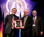 Dr. Jack Copeland (center) is honored with the Pioneer in Transplantation Award at the annual meeting of the International Society of Heart & Lung Transplantation (ISHLT) on April 25 in Montreal. He is standing with Dr. David Taylor, ISHLT President 2012-2013 (left) and Dr. James Kirklin, ISHLT President 2009-2010.  (PRNewsFoto/SynCardia Systems, Inc.)