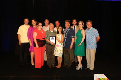 """2016 Recipient of Teleflora's Tom Butler """"Floral Retailer of the Year"""" Award (Pictured left to right. Back row: Michael Martin, Kelly McKeone, Rick Davis, Darrell Housden, David Dancer. Front row: Jessica Cosentino, Award Recipient Carmen Cosentino, Becky Butler, Guy Cosentino, Cassie Walker, and Jack Howard.) Photo Source: American Floral Endowment"""