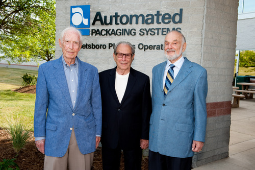 Company founders, Art Gould, Hershey Lerner and Bernie Lerner celebrate the company's 50th Anniversary.  (PRNewsFoto/Automated Packaging Systems)