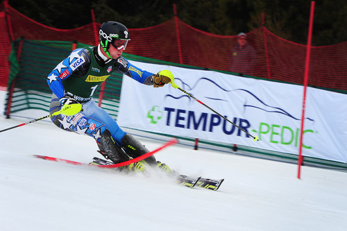 Michael Ankeny carves down the men's slalom course at the Nature Valley U.S. Alpine Championships at ...