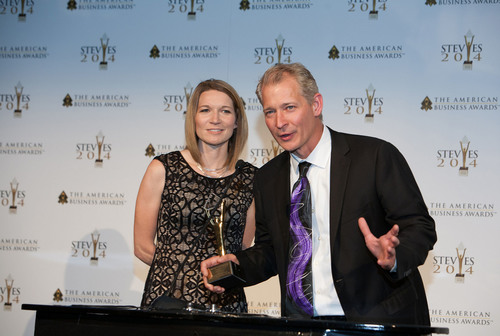 Cub Cadet Director of Marketing Jeff Salamon and Senior Marketing Communications Manager Emily Sword accepting the Gold Stevie Award, the highest honor at the prestigious American Business Awards on June 13. (PRNewsFoto/Cub Cadet)