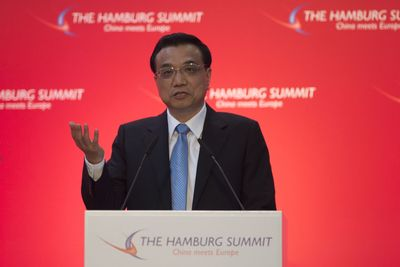"Chinese Premier Li Keqiang gives keynote speech at sixth ""Hamburg Summit: China meets Europe"" 2014 at the Hamburg Chamber of Commerce on October 11, 2014"