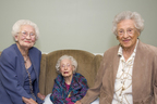 Brookdale and Wish of a Lifetime(TM) grant a Wish to Rose Shloss to see her sisters again after 10 years. From left to right: Ruth Branum, 104, of Tulsa, Okla., Rubye Cox, 110, of Bristol, R.I. and Rose Shloss, 101, of Sarasota, Fla. reunite in Rhode Island. (PRNewsFoto/Brookdale Senior Living Inc. )