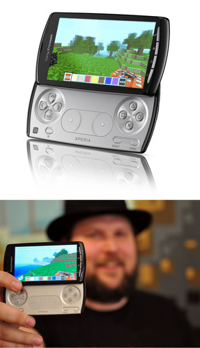 Minecraft(TM) by Mojang Exclusive on Xperia(TM) PLAY & Notch, Developer of Minecraft(TM) with Xperia(TM) PLAY.  (PRNewsFoto/Sony Ericsson)