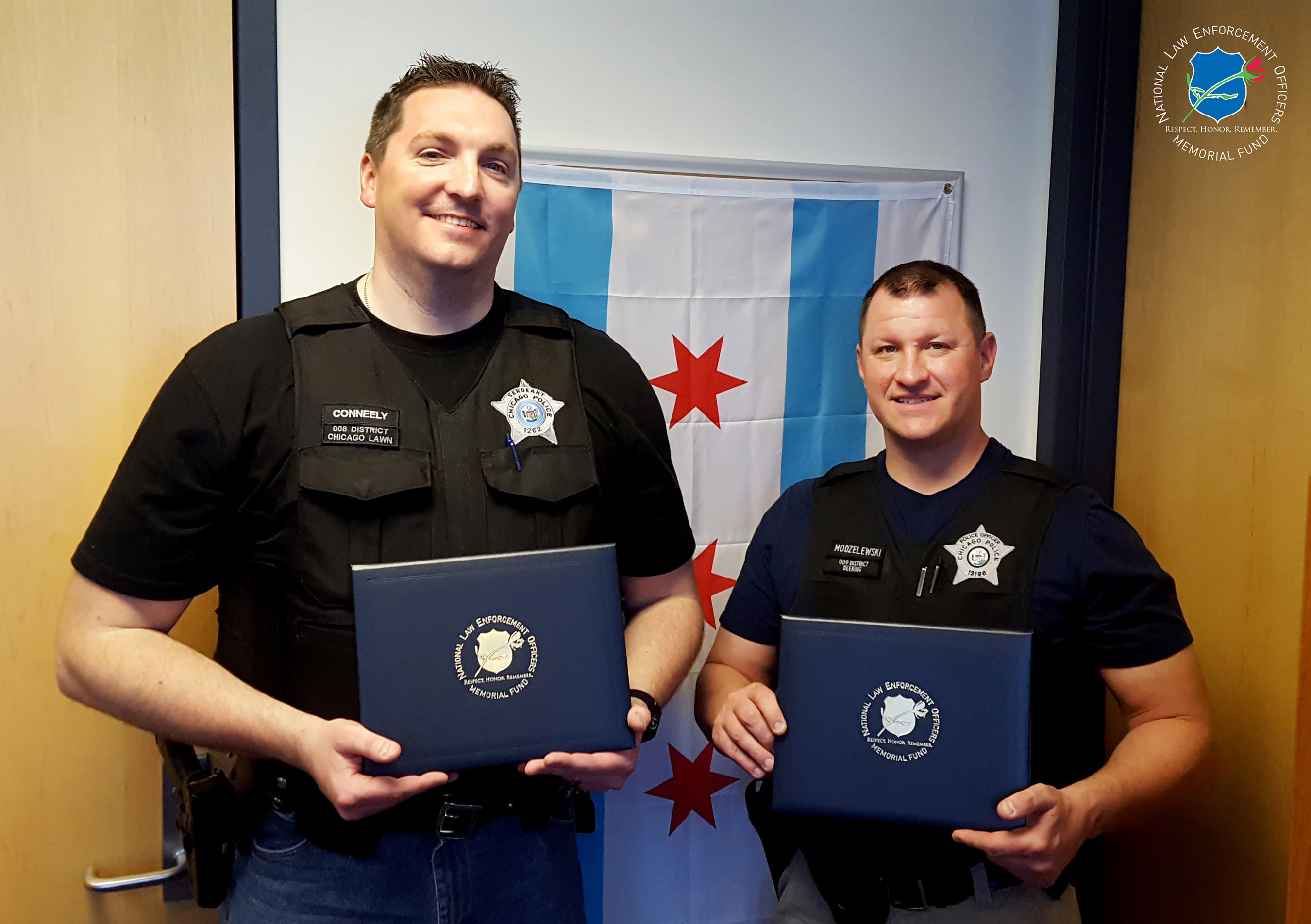 The National Law Enforcement Officers Memorial Fund has selected Sergeant John Conneely and Officer Michael Modzelewski of the Chicago (IL) Police Department, as the recipients of its Officer of the Month Award for April 2016.
