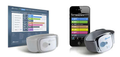 BodyMedia CORE product (Left) and BodyMedia LINK product (Right) along with the Activity Manager.  (PRNewsFoto/BodyMedia, Inc.)