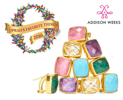 Addison Weeks Gemstone Earrings, chosen as one of Oprah's Favorite Things 2016. The Whitten stud earrings are available in 7 gemstone colors, set in 24K gold plate.
