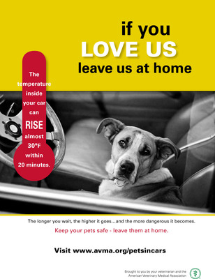 Even on a day that doesn't seem hot to you, a vehicle can quickly reach a temperature that puts pets at risk of serious illness and even death. Only take your pets in the vehicle with you when it is absolutely necessary. (PRNewsFoto/American Veterinary Medical...)
