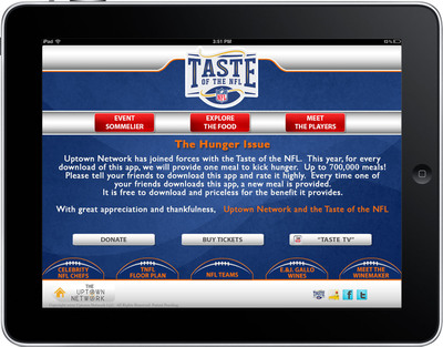 For the first time, Taste of the NFL and Uptown Network make it possible to provide a meal to the hungry by simply downloading an app. Uptown Network and its sponsors have committed to provide one free meal for every download in support of Taste of the NFL, which benefits food banks in NFL cities nationwide.  (PRNewsFoto/Uptown Network)