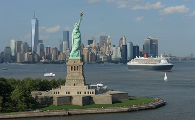 Cunard's Queen Mary 2 sails in New York Harbor