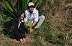 Plant a Pledge Ambassador, Bianca Jagger, plants a King tree in Miguel Pereira in Rio de Janeiro state