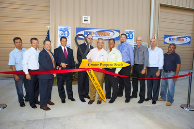 Hypower Inc. New LEED Facility Ribbon Cutting Ceremony and 20th Anniversary Celebration (Left to Right: Evencio Molina, Foreman Lebolo Construction; Richard Paul-Hus, Sr. VP Hypower; Broward County Commissioner Chip LaMarca; State Representative George Moraitis; City of Pompano Beach Mayor, Lamar Fisher; Bernard Paul-Hus, President of Hypower Inc.; Eric Paul-Hus, Vice President Hypower Inc.; Scott Williams, NABCEP Vice President Hypower Inc.; Jeff Emerson, Sr. Project Manager; Hypower Inc.; Randy Lebolo, President of Lebolo Construction; Jim Jenco, Superintendent Lebolo Construction.  (PRNewsFoto/Hypower Inc.)