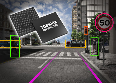 The Toshiba TMPV7602XBG image recognition processor provides high-speed, low-power recognition of images captured by on-vehicle monocular cameras.