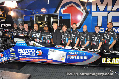 The Matco Tools Top Fuel dragster features The Matco Tools Prepaid MasterCard by LiveWallet.  (PRNewsFoto/Matco  ...