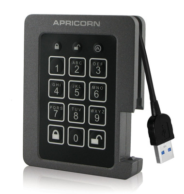 Aegis Padlock SSD - Ruggedized Encrypted USB 3.0 Solid State Drive.  (PRNewsFoto/Apricorn)