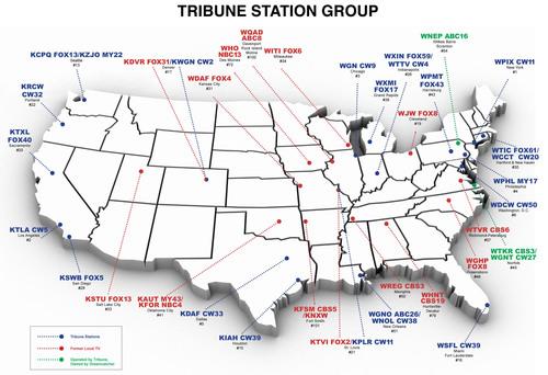 Tribune Station Group Map. (PRNewsFoto/Tribune) (PRNewsFoto/TRIBUNE)