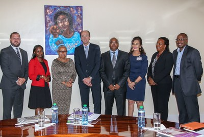 The Merck team with the First Lady of Kenya; third person from the left (PRNewsFoto/Merck)