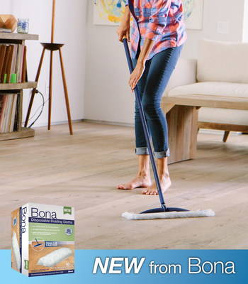 Bona US Announces New Disposable Dusting Cloths! Quick and easy cleaning that locks away dust, dirt and pet hair. Available now.