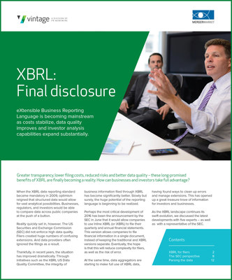Experts Interviewed on the Reality of XBRL and Structured Data for Financial Reporting: Whitepaper Now Available. Greater transparency, lower filing costs, reduced risks and better data quality - these long-promised benefits of XBRL are finally becoming a reality.