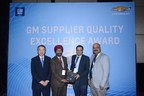 Yongjoo Huang, Director Powertrain, GM International Operations (far left), and Praveen Patravali, Plant Head, GM India Powertrain Plant (far right), presented the 2014 Supplier Quality Excellence Award from GM India to Darshan Pal Singh, Quality Manager, BorgWarner Emissions Systems India (middle left), and Anshul Gupta, Head of Sales, Marketing and Program Management, BorgWarner Emissions Systems India (middle right).