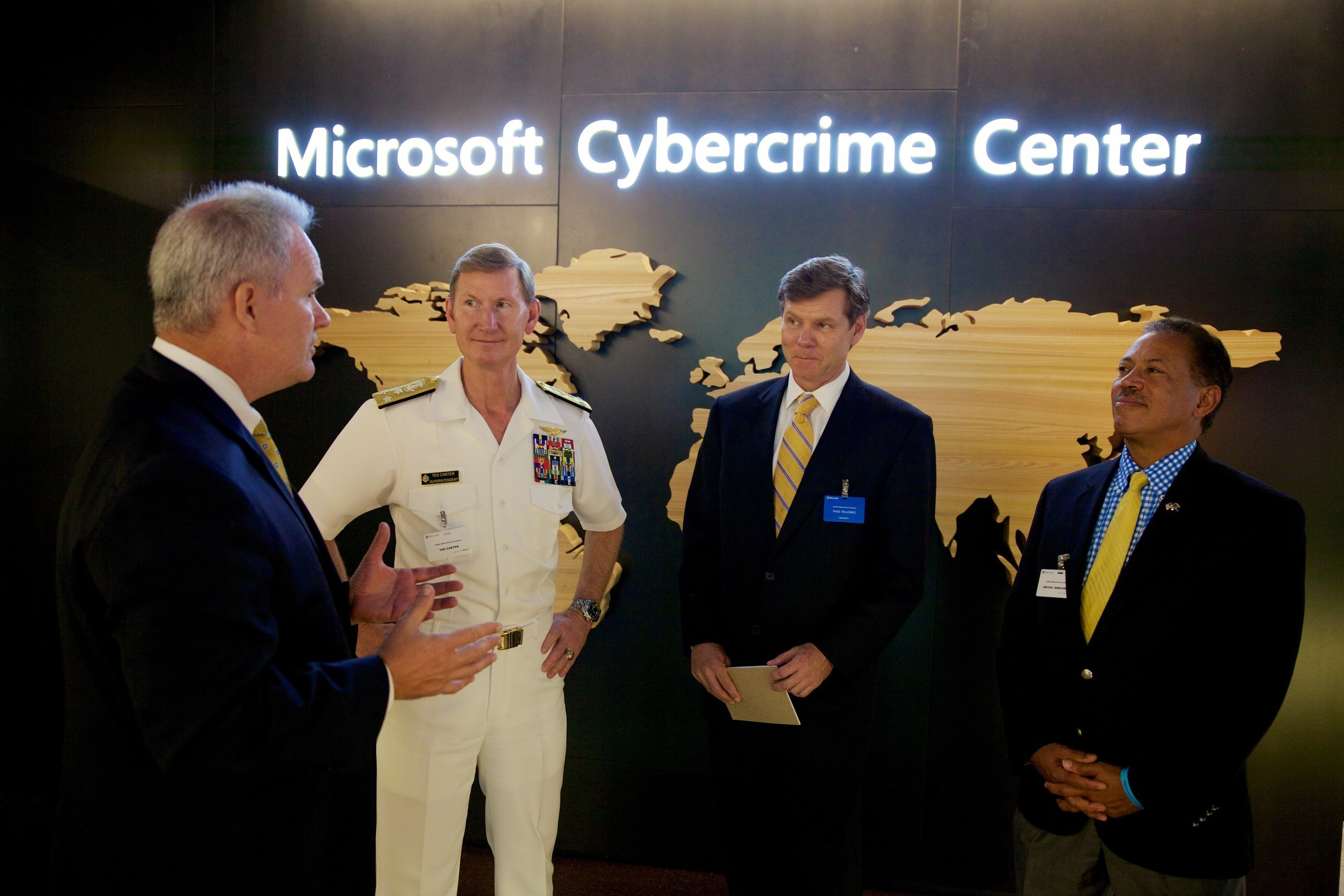Naval Academy Superintendent VADM Ted Carter of the Naval Academy Class of 1981 had an opportunity to explore Microsoft's cyber defense initiatives during a July visit to the company's Redmond, WA headquarters.