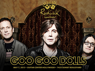 Goo Goo Dolls to be Inducted into Guitar Center's Historic RockWalk. Ceremony Slated for May 7, 2013 with Induction Speech by Warner Bros Records Chairman Rob Cavallo.  (PRNewsFoto/Guitar Center)