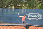 Grigor Dimitrov testing racquets at Boca Grove Golf & Tennis Club.