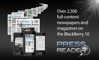 Awarding-winning PressReader App now optimized for BlackBerry 10.  (PRNewsFoto/NewspaperDirect Inc.)