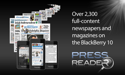 Awarding-winning PressReader App now optimized for BlackBerry 10.  (PRNewsFoto/NewspaperDirect Inc.)