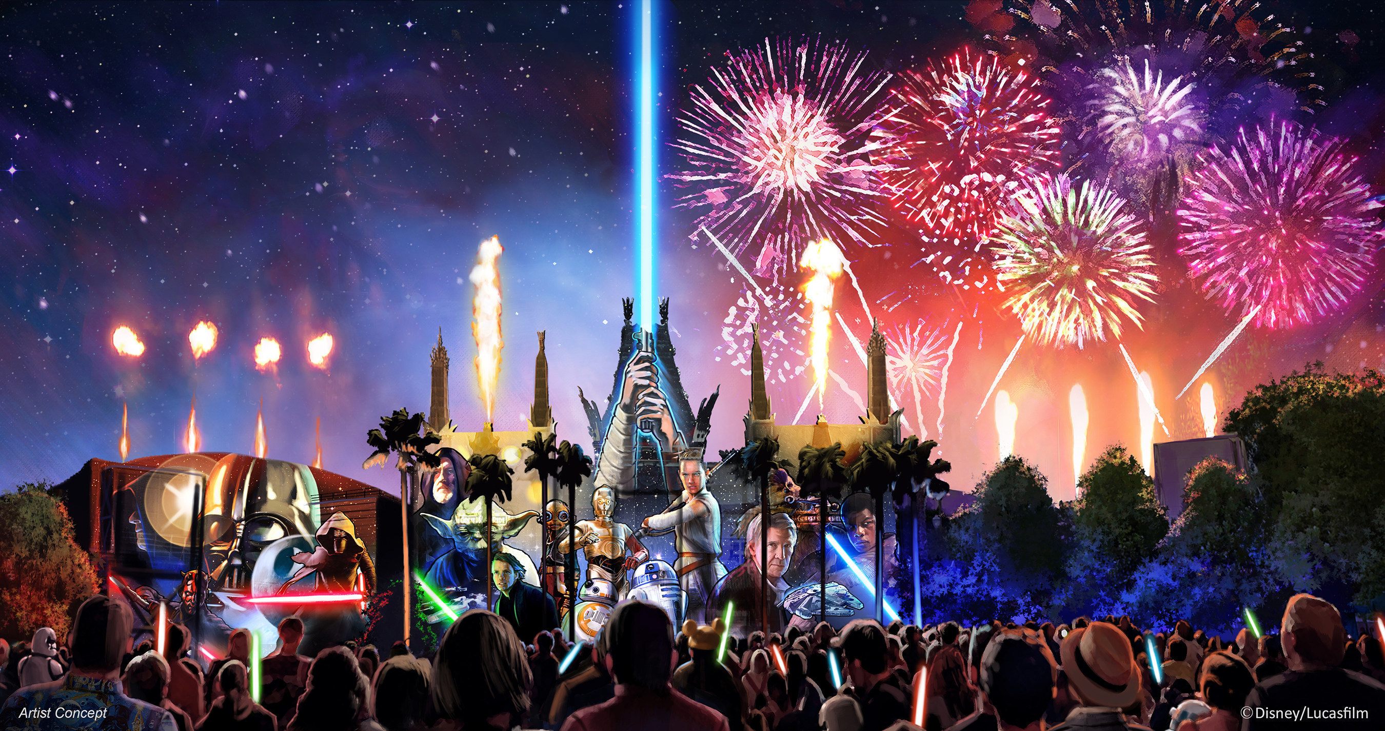 """Starting in summer 2016, a new Star Wars fireworks show, """"Star Wars: A Galactic Spectacular,"""" will debut to guests at Disney's Hollywood Studios. The nightly show will combine fireworks, pyrotechnics, special effects and video projections that will turn the nearby buildings into the twin suns of Tatooine, a field of battle droids, the trench of the Death Star, Starkiller Base and other Star Wars destinations. The show also will feature a tower of fire and spotlight beams, creating massive lightsabers in the sky. (Disney/Lucasfilm)"""