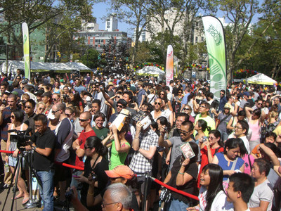 Fans gather to watch the record breaking 2015 Dumpling Eating Contest
