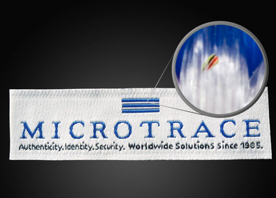Microtaggant Security Yarn in a woven label.  (PRNewsFoto/Microtrace)