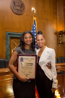 Maryah Sullivan (left) was named the 2014-15 National Youth of the Year this morning at a Congressional Breakfast in Washington, D.C. She accepted the honor before an audience that included senators, representatives and Boys & Girls Clubs of America (BGCA) partners and supporters, among them American ballet dancer and National Youth of the Year Ambassador Misty Copeland (right), Speaker of the House John Boehner, and Democratic Whip Steny Hoyer. (PRNewsFoto/Boys & Girls Clubs of America)