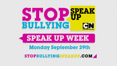 "Cartoon Network's Speak Up Week (Sept. 29-Oct. 3) seeks one million people to create & share videos stating ""I Speak Up"" to bullying. The campaign launches 2014's National Bullying Prevention Month."