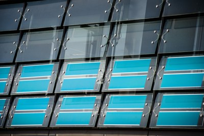 Heliatek's award-winning photovoltaic HeliaFilm(R) can even be made semi-transparent for windows to extend its use as a solar harvester for energy neutral green buildings (PRNewsFoto/Heliatek)