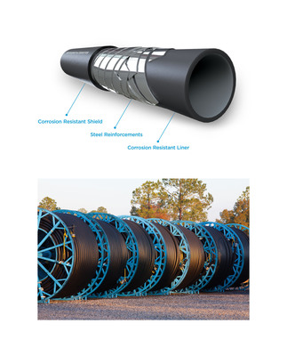 FlexSteel pipe is now available in 8-inch making it the first spoolable steel-reinforced onshore pipe of its kind. The larger diameter pipe offers an improved flow rate of up to 125% compared to the 6-inch version. FlexSteel is a revolutionary spooled pipe technology developed from more than 30 years of experience in demanding offshore environments. It uniquely combines the corrosion resistance and installation advantages of flexible pipe with a core of steel -- the industry standard for durability. FlexSteel spooled pipe is used in various applications including oil and gas, water, CO2 transportation, and others.  (PRNewsFoto/FlexSteel Pipeline Technologies)