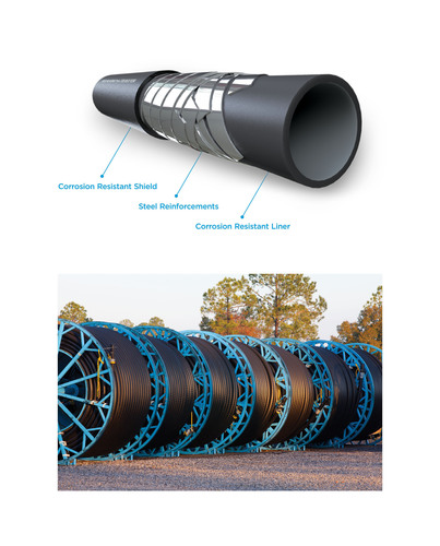 FlexSteel pipe is now available in 8-inch making it the first spoolable steel-reinforced onshore pipe of its kind. The larger diameter pipe offers an improved flow rate of up to 125% compared to the 6-inch version. FlexSteel is a revolutionary spooled pipe technology developed from more than 30 years of experience in demanding offshore environments. It uniquely combines the corrosion resistance and installation advantages of flexible pipe with a core of steel -- the industry standard for durability. FlexSteel spooled pipe is used in various ...