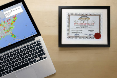 """Simpson Healthcare Executives' Award of Distinction Certificate for """"Best Interactive"""" from the 2016 eHealthcare Leadership Awards"""