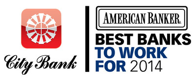 City Bank has been named one of the Best Banks to Work For in 2014, coming in at number ten. The program, initiated in 2013 to identify, recognize, and honor the best banks to work for in the nation, is a project of American Banker and Best Companies Group.