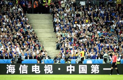 "Hisense advertisement appeared on the spot: ""Hisense, China's No.1 TV Brand"""
