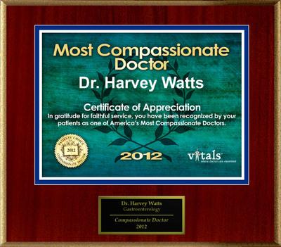 Patients Honor Dr. David Watts for Compassion.  (PRNewsFoto/American Registry)
